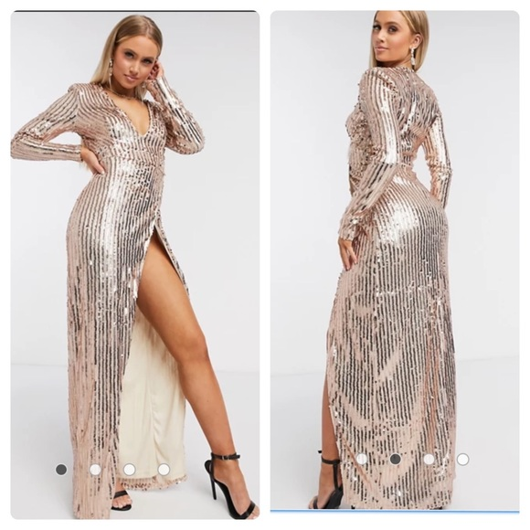 ❤️SOLD❤️ASOS Wrap Front Gold Sequin Maxi Dress